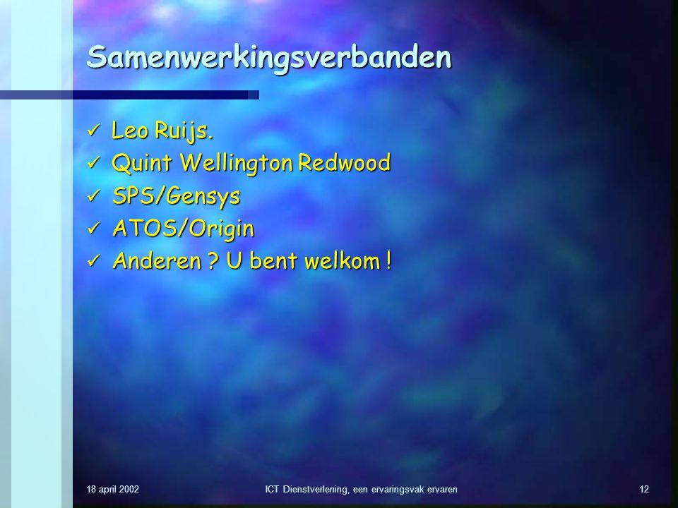 18 april 2002ICT Dienstverlening, een ervaringsvak ervaren12 Samenwerkingsverbanden Leo Ruijs. Leo Ruijs. Quint Wellington Redwood Quint Wellington Re