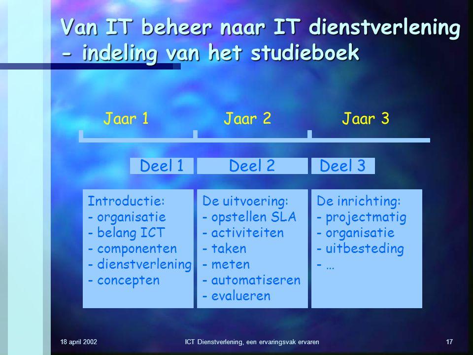 18 april 2002ICT Dienstverlening, een ervaringsvak ervaren17 Van IT beheer naar IT dienstverlening - indeling van het studieboek Jaar 1Jaar 2Jaar 3 De