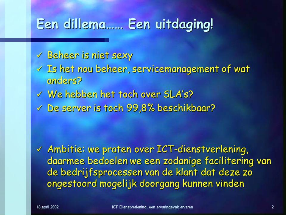 18 april 2002ICT Dienstverlening, een ervaringsvak ervaren2 Een dillema…… Een uitdaging! Beheer is niet sexy Beheer is niet sexy Is het nou beheer, se