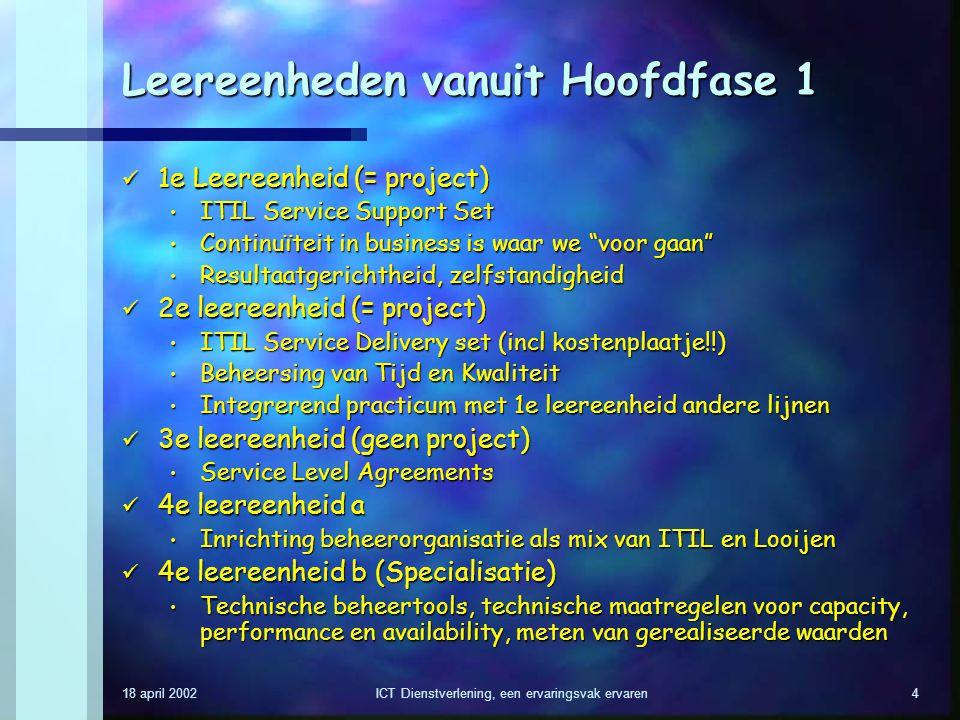 18 april 2002ICT Dienstverlening, een ervaringsvak ervaren4 Leereenheden vanuit Hoofdfase 1 1e Leereenheid (= project) 1e Leereenheid (= project) ITIL