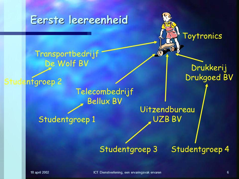 18 april 2002ICT Dienstverlening, een ervaringsvak ervaren6 Eerste leereenheid Toytronics Telecombedrijf Bellux BV Drukkerij Drukgoed BV Uitzendbureau