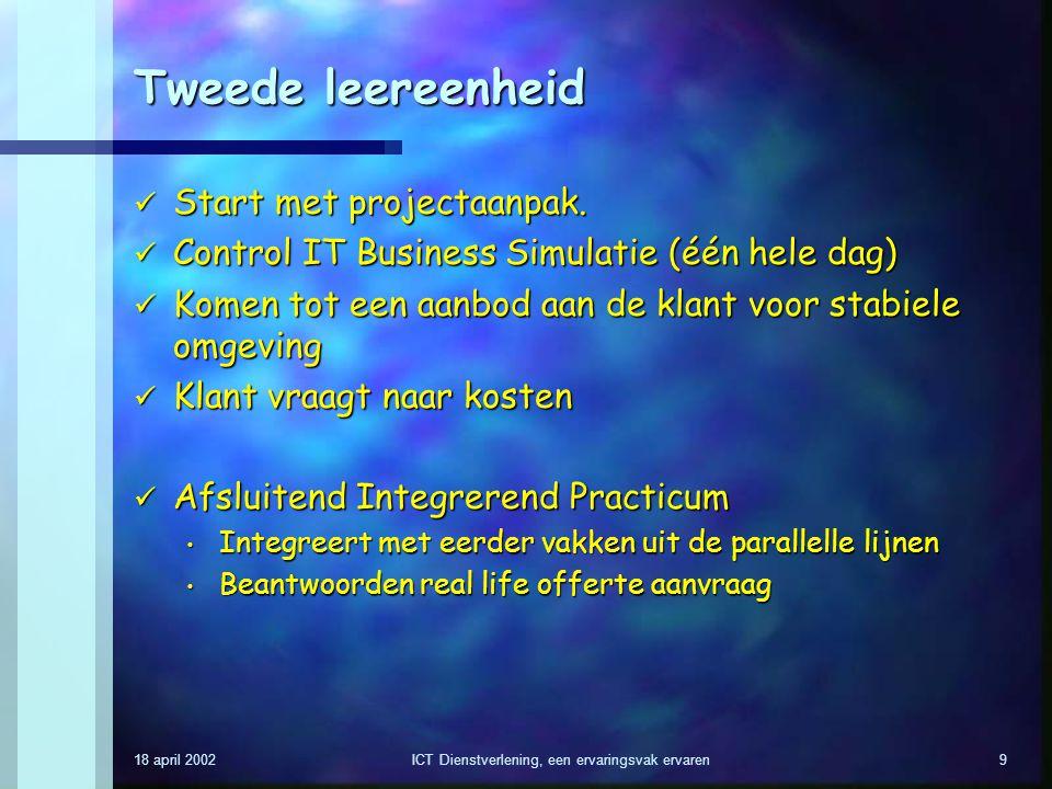 18 april 2002ICT Dienstverlening, een ervaringsvak ervaren9 Tweede leereenheid Start met projectaanpak. Start met projectaanpak. Control IT Business S