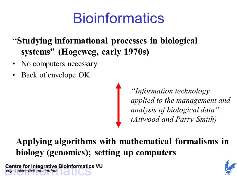 Bioinformatics in the olden days Close to Molecular Biology: –(Statistical) analysis of protein and nucleotide structure –Protein folding problem –Protein-protein and protein-nucleotide interaction Many essential methods were created early on: –Protein sequence analysis (pairwise and multiple alignment) –Protein structure prediction (secondary, tertiary structure)