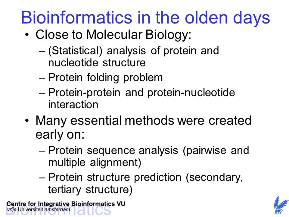 Bioinformatics in the olden days Close to Molecular Biology: –(Statistical) analysis of protein and nucleotide structure –Protein folding problem –Pro