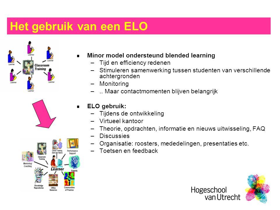 Het gebruik van een ELO Minor model ondersteund blended learning –Tijd en efficiency redenen –Stimuleren samenwerking tussen studenten van verschillende achtergronden –Monitoring –..
