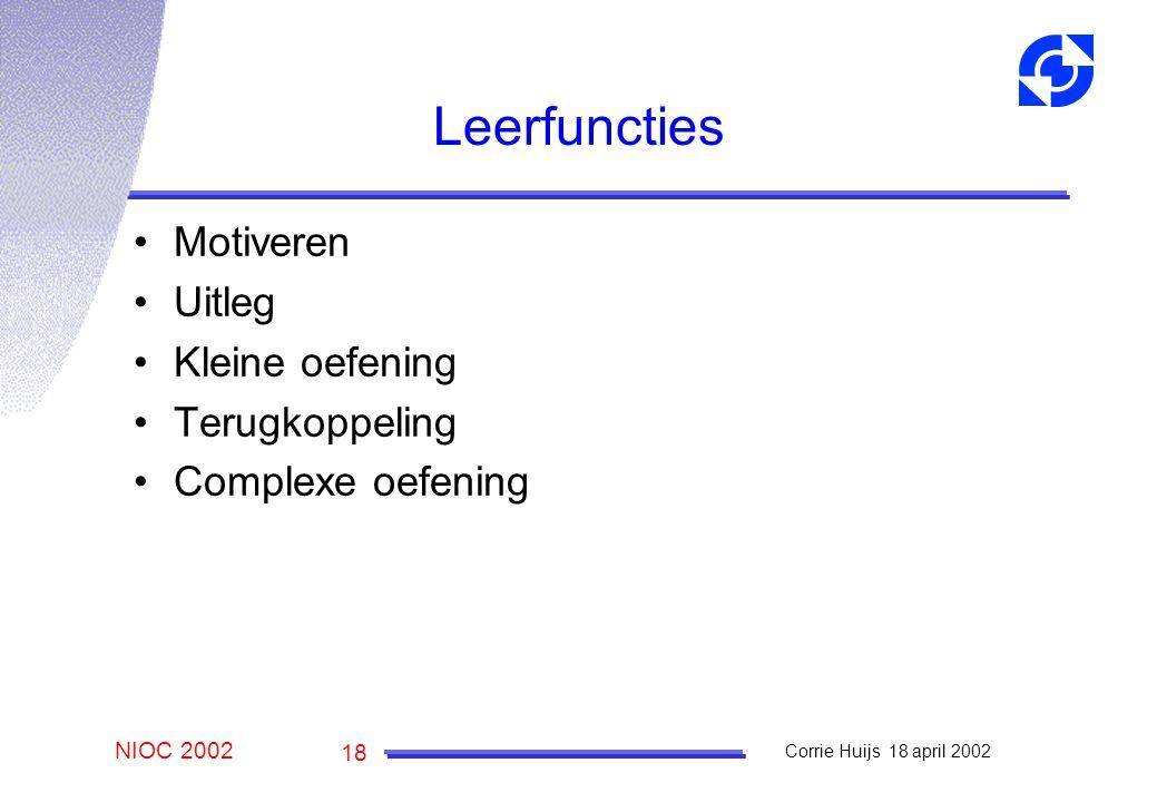 NIOC 2002 Corrie Huijs 18 april 2002 18 Leerfuncties Motiveren Uitleg Kleine oefening Terugkoppeling Complexe oefening
