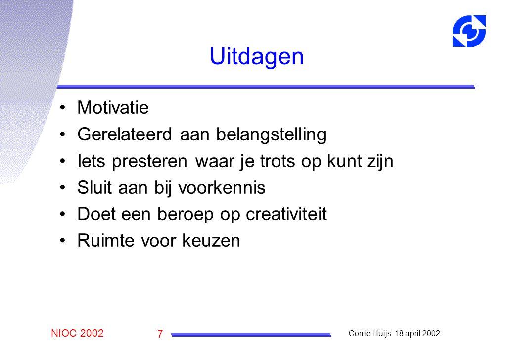 NIOC 2002 Corrie Huijs 18 april 2002 7 Uitdagen Motivatie Gerelateerd aan belangstelling Iets presteren waar je trots op kunt zijn Sluit aan bij voorkennis Doet een beroep op creativiteit Ruimte voor keuzen