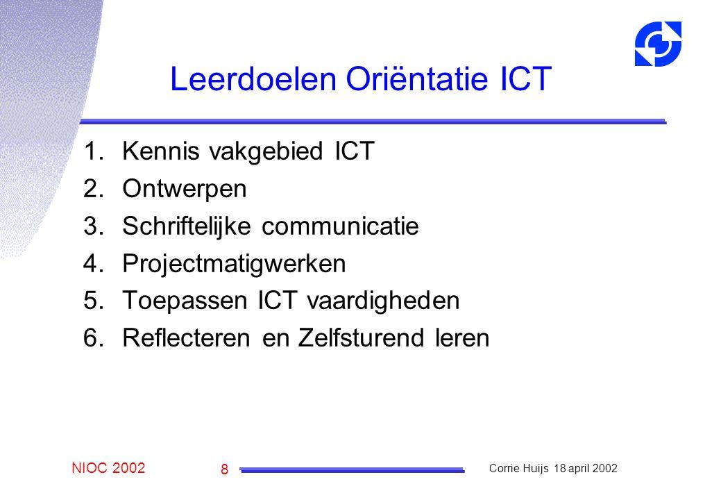 NIOC 2002 Corrie Huijs 18 april 2002 8 Leerdoelen Oriëntatie ICT 1.Kennis vakgebied ICT 2.Ontwerpen 3.Schriftelijke communicatie 4.Projectmatigwerken 5.Toepassen ICT vaardigheden 6.Reflecteren en Zelfsturend leren