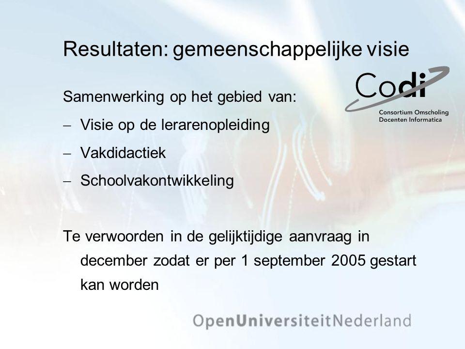 Resultaten: gemeenschappelijke visie Samenwerking op het gebied van:  Visie op de lerarenopleiding  Vakdidactiek  Schoolvakontwikkeling Te verwoord