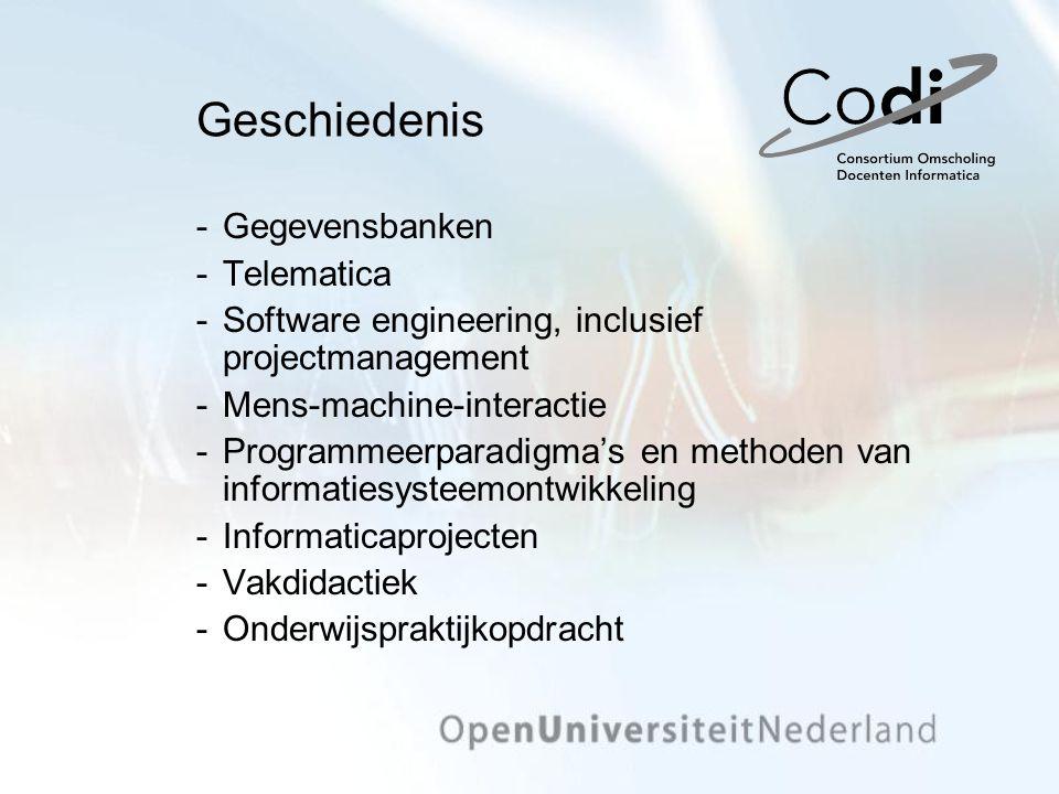 Geschiedenis Gegevensbanken Telematica Software engineering, inclusief projectmanagement Mens-machine-interactie Programmeerparadigma's en method