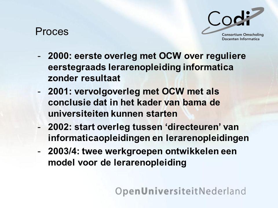 2000: eerste overleg met OCW over reguliere eerstegraads lerarenopleiding informatica zonder resultaat 2001: vervolgoverleg met OCW met als conclusi