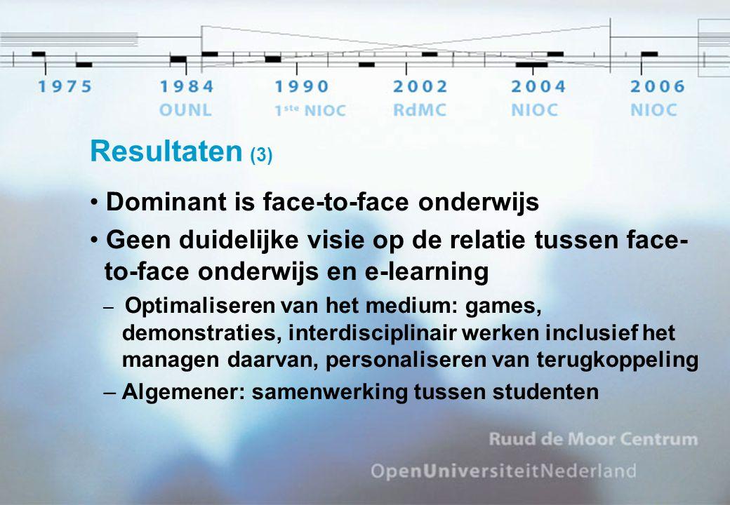 Resultaten (3) Dominant is face-to-face onderwijs Geen duidelijke visie op de relatie tussen face- to-face onderwijs en e-learning – Optimaliseren van het medium: games, demonstraties, interdisciplinair werken inclusief het managen daarvan, personaliseren van terugkoppeling – Algemener: samenwerking tussen studenten
