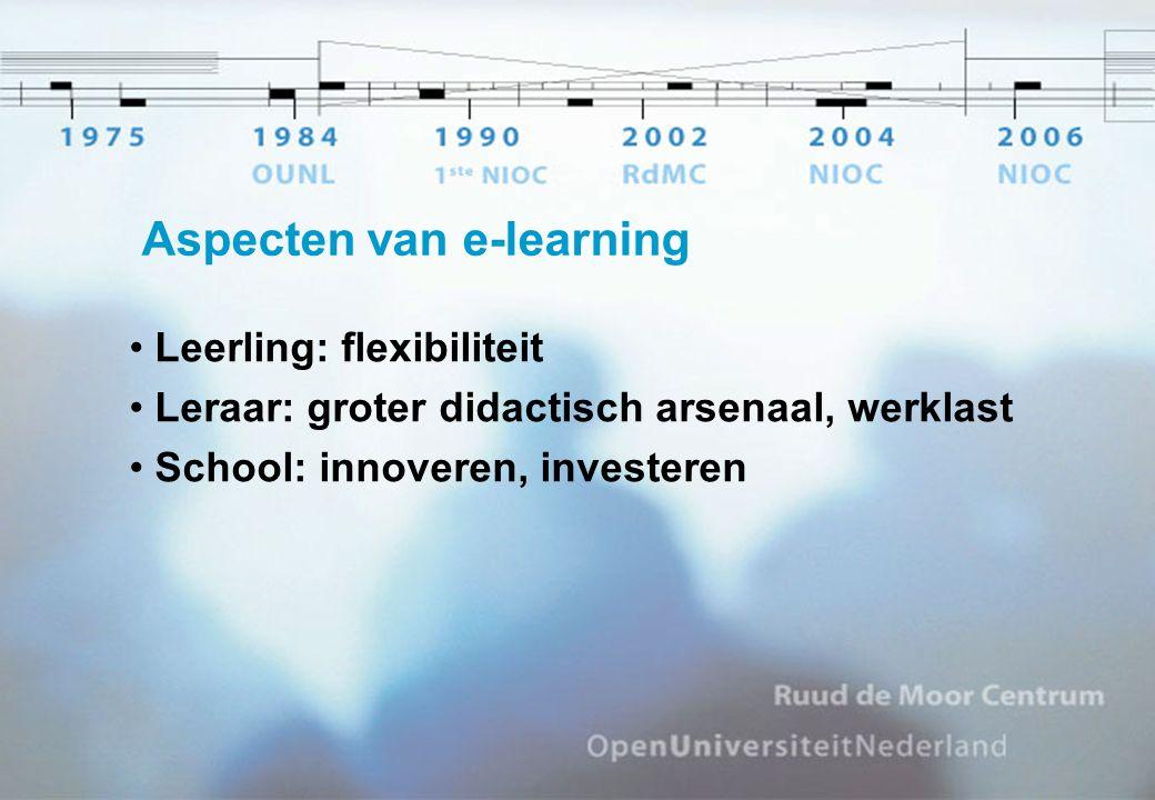 Aspecten van e-learning Leerling: flexibiliteit Leraar: groter didactisch arsenaal, werklast School: innoveren, investeren