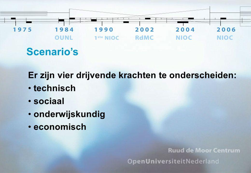 Scenario's Er zijn vier drijvende krachten te onderscheiden: technisch sociaal onderwijskundig economisch