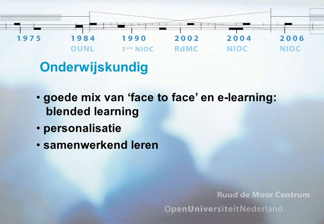 Onderwijskundig goede mix van 'face to face' en e-learning: blended learning personalisatie samenwerkend leren