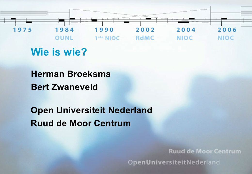Wie is wie? Herman Broeksma Bert Zwaneveld Open Universiteit Nederland Ruud de Moor Centrum