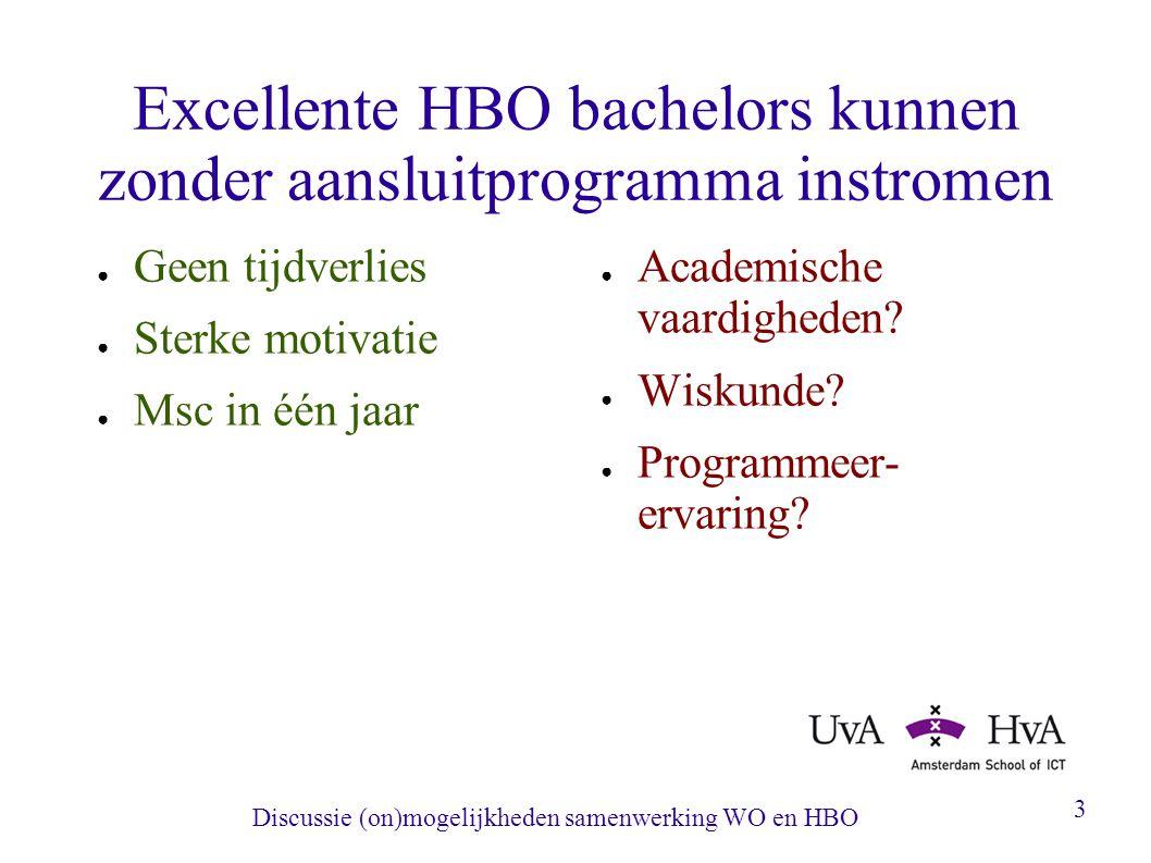 Discussie (on)mogelijkheden samenwerking WO en HBO 3 Excellente HBO bachelors kunnen zonder aansluitprogramma instromen ● Geen tijdverlies ● Sterke motivatie ● Msc in één jaar ● Academische vaardigheden.