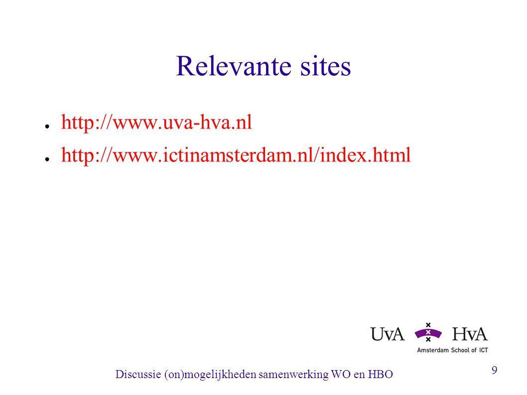 Discussie (on)mogelijkheden samenwerking WO en HBO 9 Relevante sites ● http://www.uva-hva.nl ● http://www.ictinamsterdam.nl/index.html