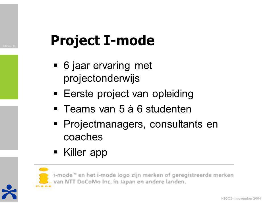 OMVAL IT NIOC 3-4 november 2004 Project I-mode  6 jaar ervaring met projectonderwijs  Eerste project van opleiding  Teams van 5 à 6 studenten  Pro