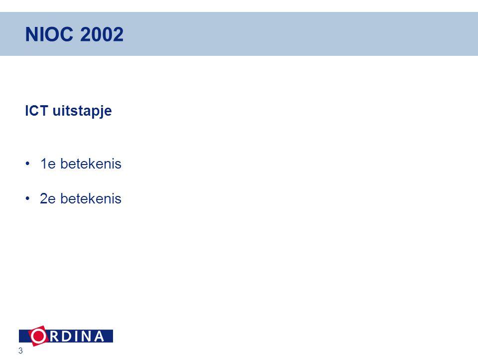 4 NIOC 2002 Arrangementen / Coalities Tijd Plaats Ruimte Kennis