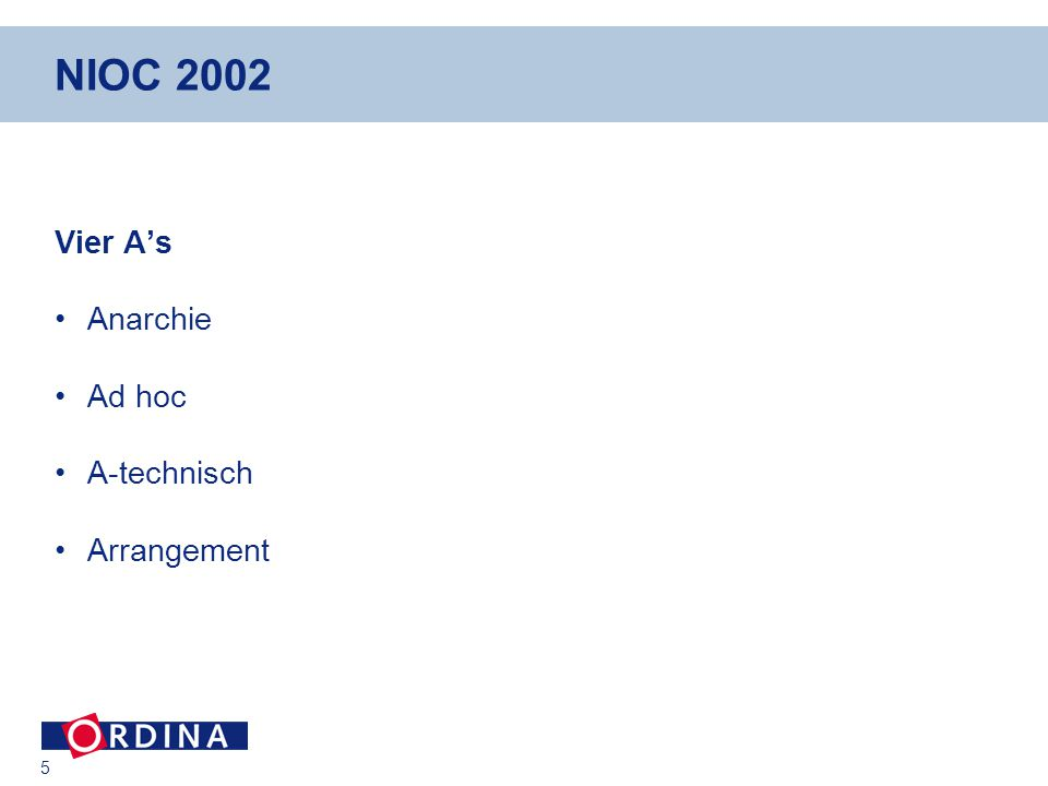 5 NIOC 2002 Vier A's Anarchie Ad hoc A-technisch Arrangement