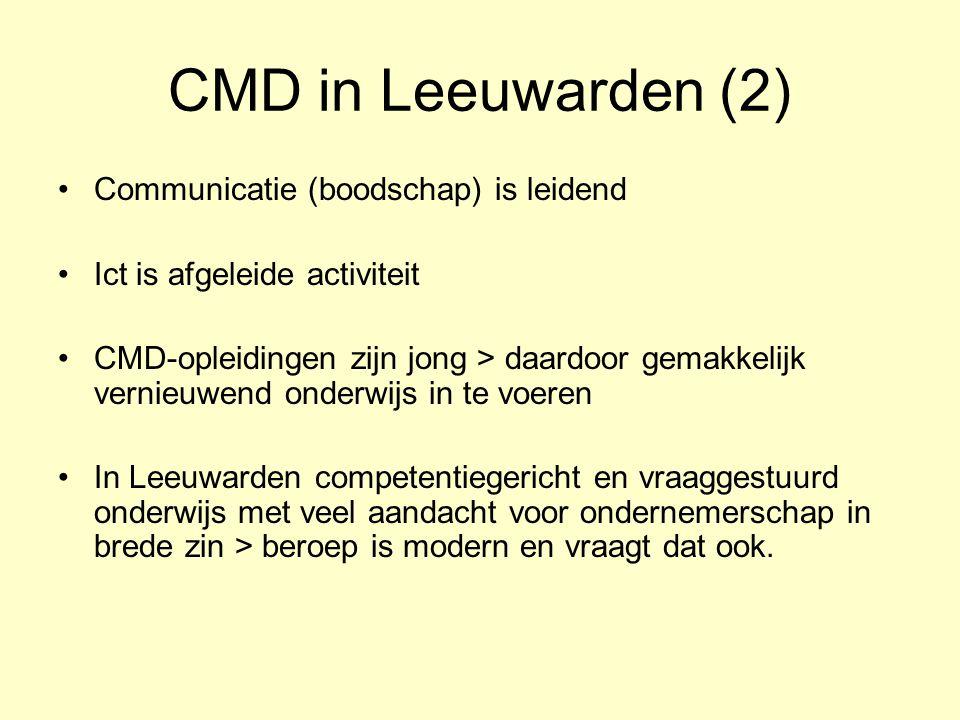 CMD in Leeuwarden (2) Communicatie (boodschap) is leidend Ict is afgeleide activiteit CMD-opleidingen zijn jong > daardoor gemakkelijk vernieuwend ond