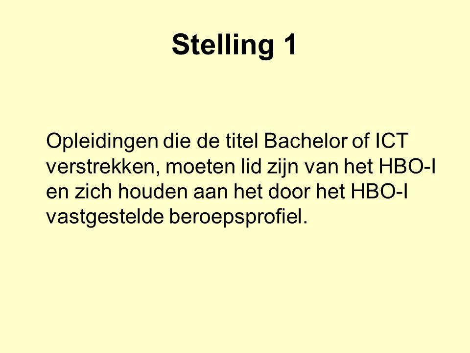Stelling 1 Opleidingen die de titel Bachelor of ICT verstrekken, moeten lid zijn van het HBO-I en zich houden aan het door het HBO-I vastgestelde bero