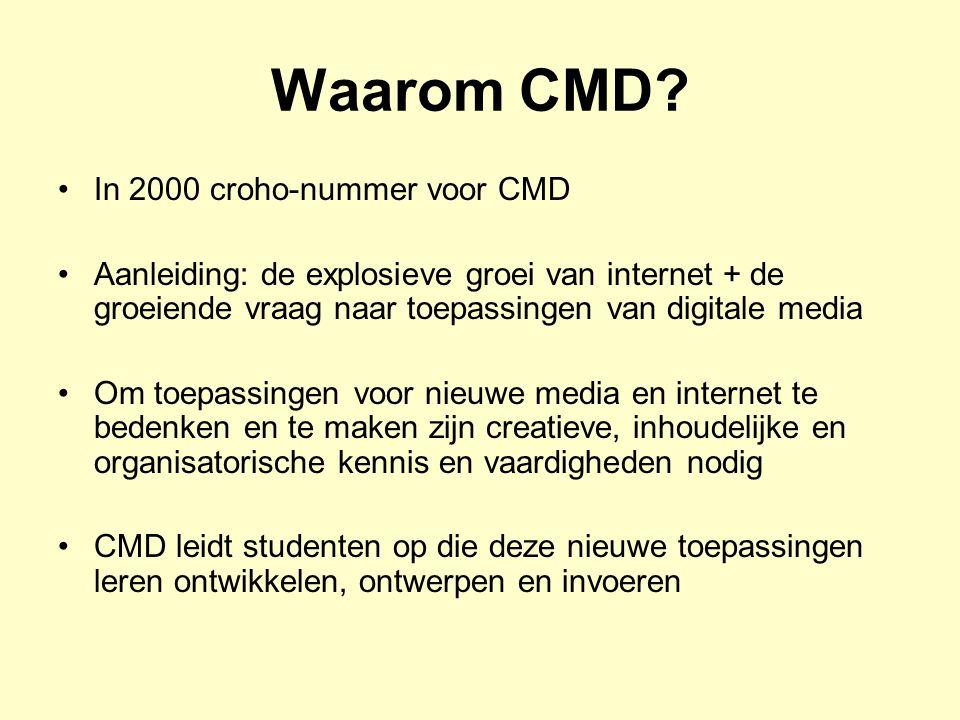 CMD = multidisciplinair Ontwerp en ict –CMD'ers ontwikkelen nieuwe (producten voor nieuwe) media –CMD'ers werken visueel en doelgroepgericht binnen het ict- domein –CMD'ers kijken naar de impact van ict op de samenleving en naar de invloed van ict op hoe mensen communiceren Marketing –Voorbeeld: een website is een must.