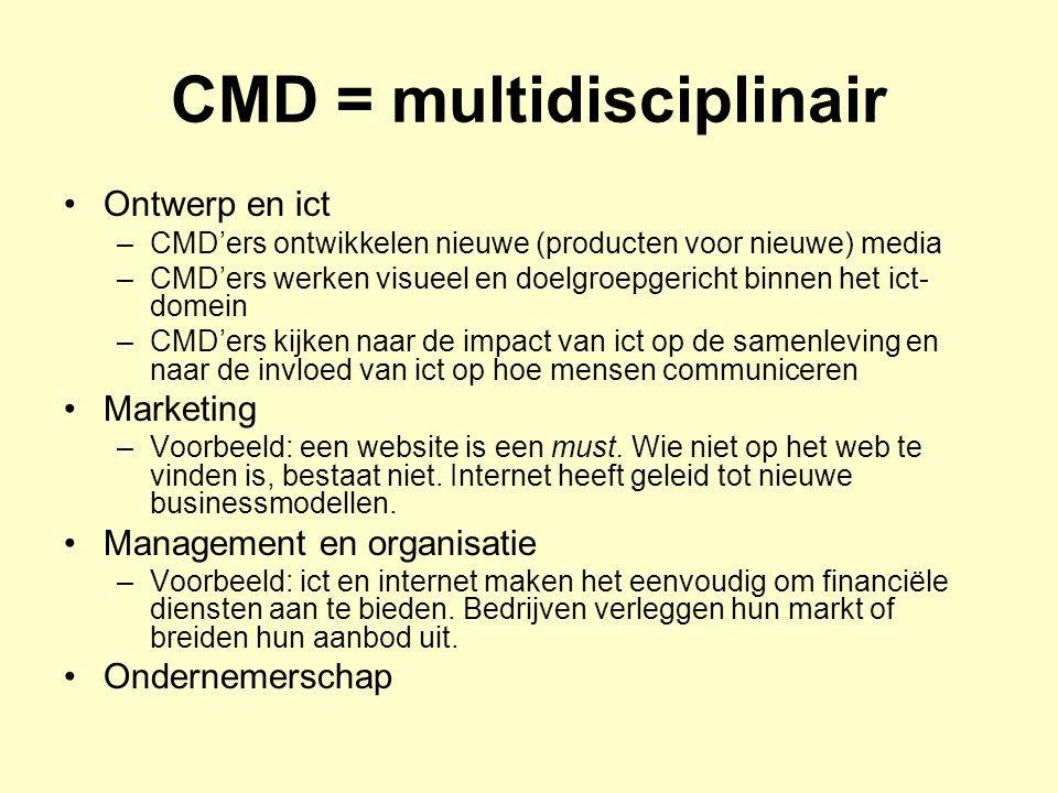 CMD in Leeuwarden (2) Communicatie (boodschap) is leidend Ict is afgeleide activiteit CMD-opleidingen zijn jong > daardoor gemakkelijk vernieuwend onderwijs in te voeren In Leeuwarden competentiegericht en vraaggestuurd onderwijs met veel aandacht voor ondernemerschap in brede zin > beroep is modern en vraagt dat ook.