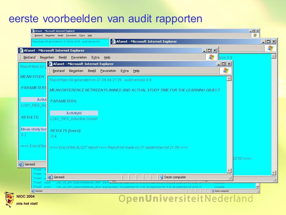 eerste voorbeelden van audit rapporten