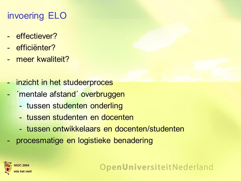 invoering ELO effectiever? efficiënter? meer kwaliteit? inzicht in het studeerproces ´mentale afstand´ overbruggen tussen studenten onderling t