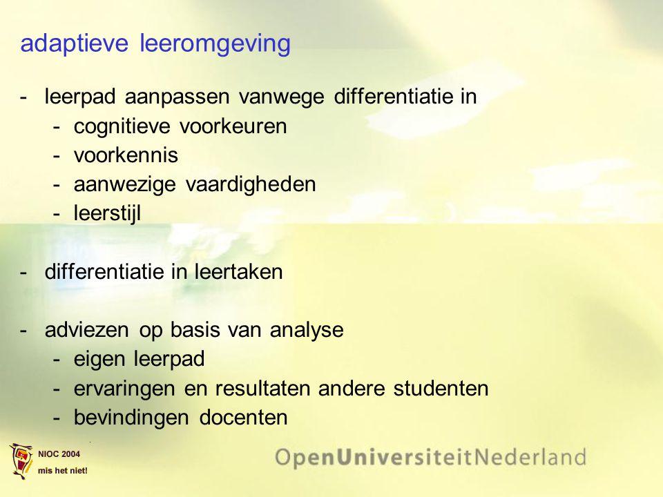 adaptieve leeromgeving leerpad aanpassen vanwege differentiatie in cognitieve voorkeuren voorkennis aanwezige vaardigheden leerstijl differentiatie in leertaken adviezen op basis van analyse eigen leerpad ervaringen en resultaten andere studenten bevindingen docenten