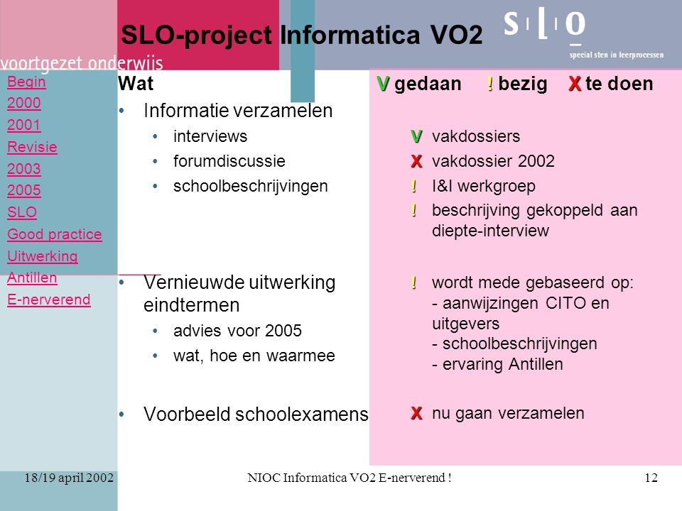 Begin 2000 2001 Revisie 2003 2005 SLO Good practice Uitwerking Antillen E-nerverend 18/19 april 2002NIOC Informatica VO2 E-nerverend !12 SLO-project Informatica VO2 Wat Informatie verzamelen interviews forumdiscussie schoolbeschrijvingen Vernieuwde uitwerking eindtermen advies voor 2005 wat, hoe en waarmee Voorbeeld schoolexamens V .