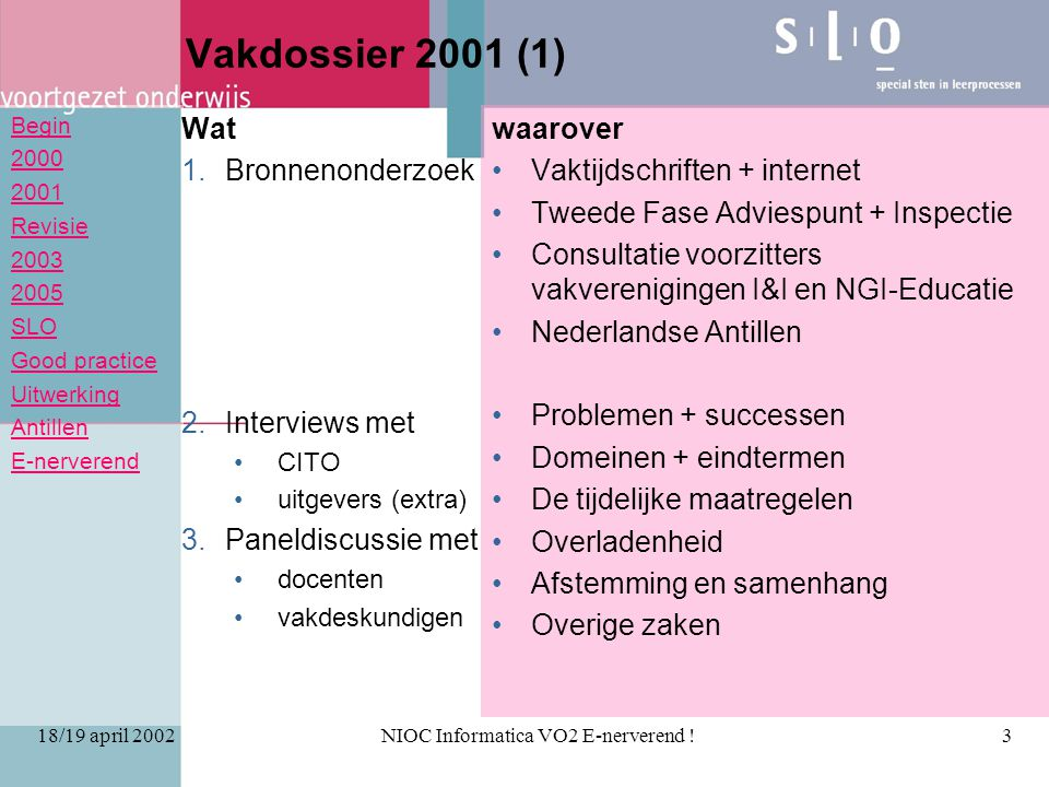 Begin 2000 2001 Revisie 2003 2005 SLO Good practice Uitwerking Antillen E-nerverend 18/19 april 2002NIOC Informatica VO2 E-nerverend !3 Vakdossier 200