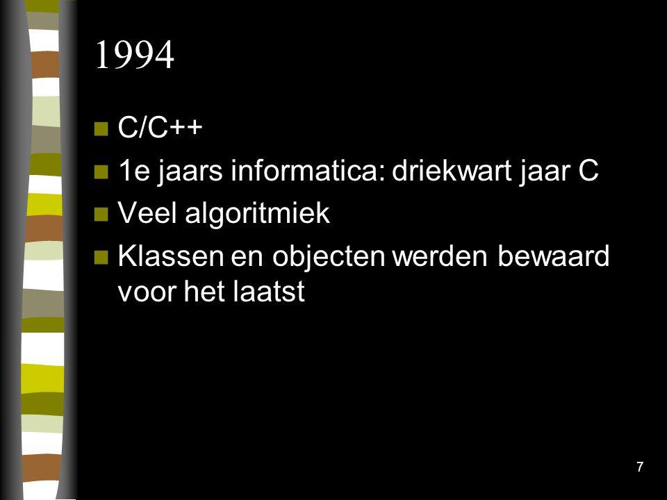 7 1994 C/C++ 1e jaars informatica: driekwart jaar C Veel algoritmiek Klassen en objecten werden bewaard voor het laatst