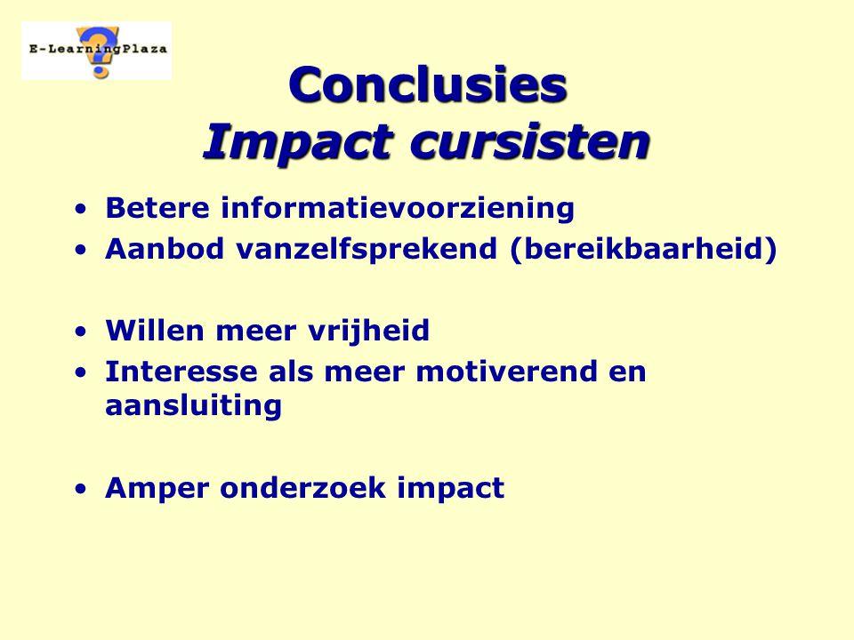 Conclusies Impact cursisten Betere informatievoorziening Aanbod vanzelfsprekend (bereikbaarheid) Willen meer vrijheid Interesse als meer motiverend en aansluiting Amper onderzoek impact