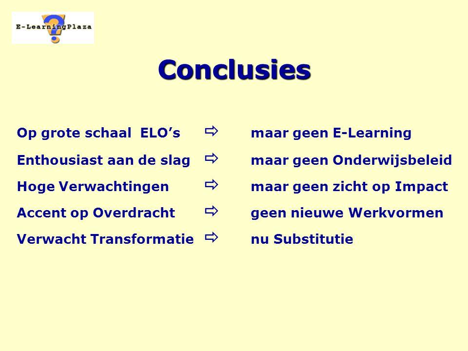 Conclusies Op grote schaal ELO's  maar geen E-Learning Enthousiast aan de slag  maar geen Onderwijsbeleid Hoge Verwachtingen  maar geen zicht op Impact Accent op Overdracht  geen nieuwe Werkvormen Verwacht Transformatie  nu Substitutie