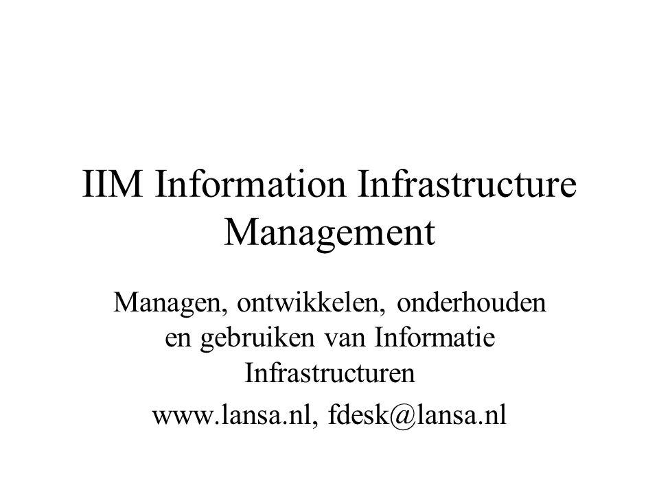 IIM Information Infrastructure Management Managen, ontwikkelen, onderhouden en gebruiken van Informatie Infrastructuren www.lansa.nl, fdesk@lansa.nl