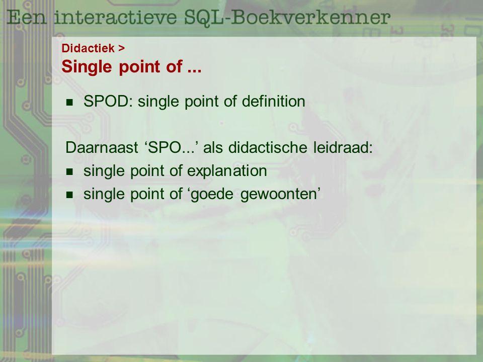 Didactiek > Single point of...