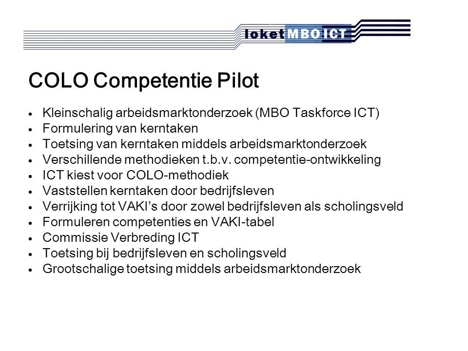 COLO Competentie Pilot  Kleinschalig arbeidsmarktonderzoek (MBO Taskforce ICT)  Formulering van kerntaken  Toetsing van kerntaken middels arbeidsmarktonderzoek  Verschillende methodieken t.b.v.