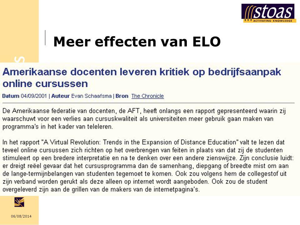 06/08/2014 Meer effecten van ELO