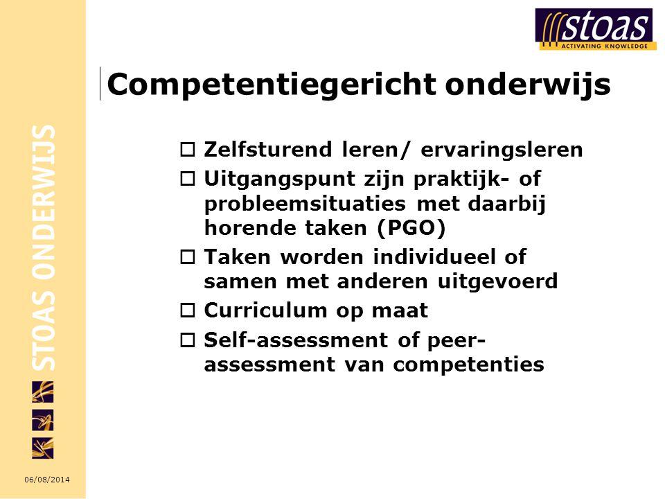 06/08/2014 Competentiegericht onderwijs  Zelfsturend leren/ ervaringsleren  Uitgangspunt zijn praktijk- of probleemsituaties met daarbij horende tak