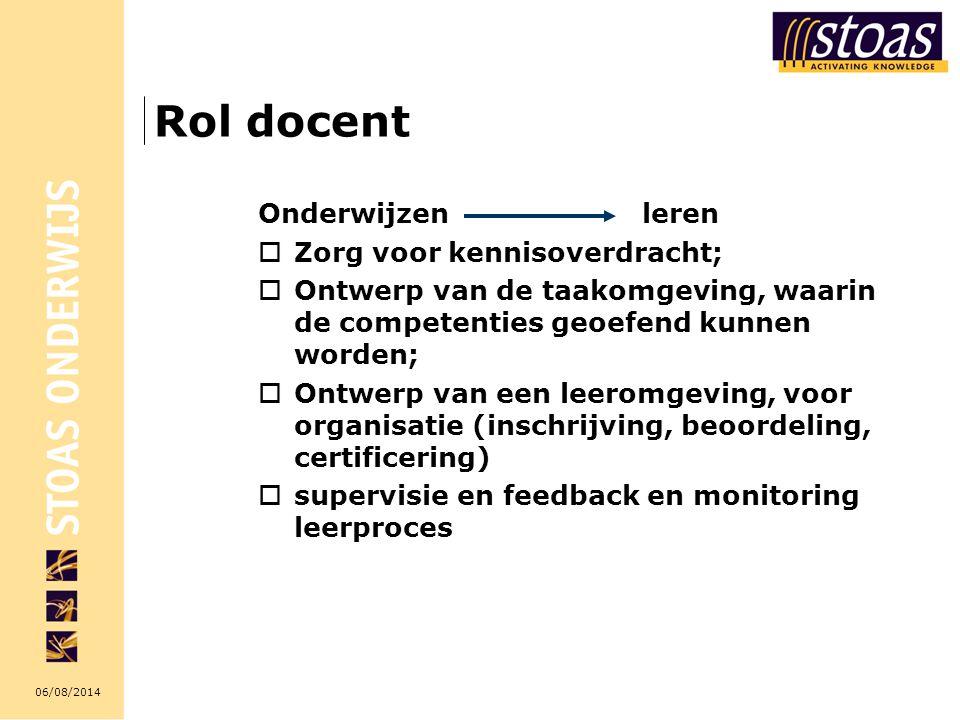 06/08/2014 Rol docent Onderwijzen leren  Zorg voor kennisoverdracht;  Ontwerp van de taakomgeving, waarin de competenties geoefend kunnen worden; 