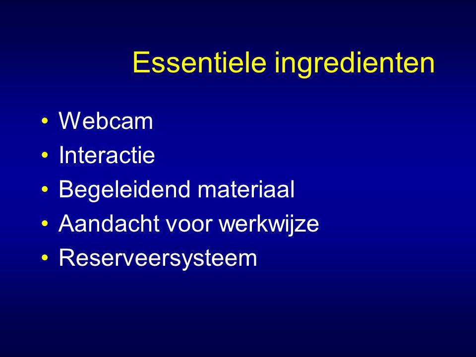 Essentiele ingredienten Webcam Interactie Begeleidend materiaal Aandacht voor werkwijze Reserveersysteem