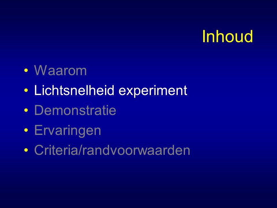 Inhoud Waarom Lichtsnelheid experiment Demonstratie Ervaringen Criteria/randvoorwaarden