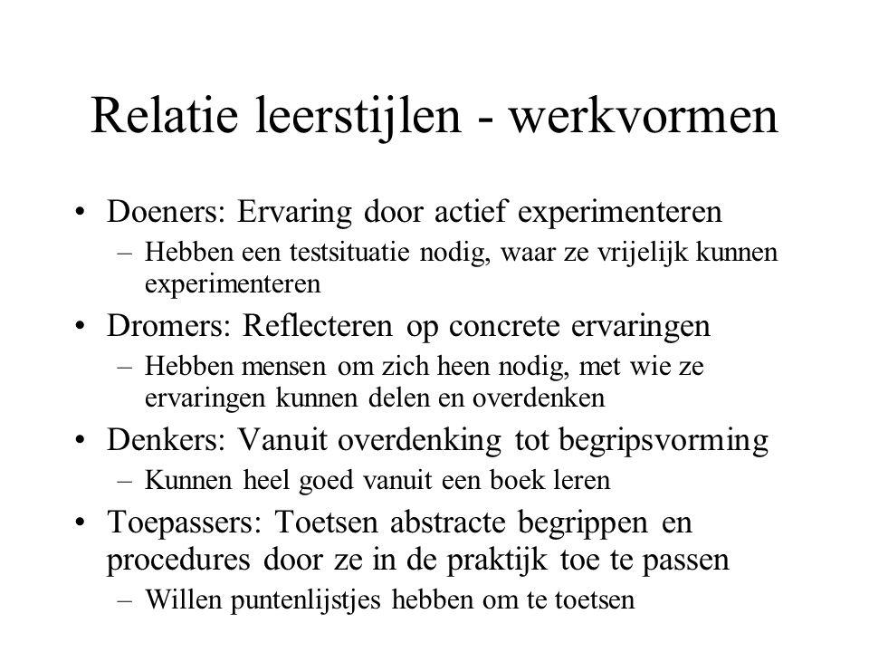 Doeners: Ervaring door actief experimenteren –Hebben een testsituatie nodig, waar ze vrijelijk kunnen experimenteren Dromers: Reflecteren op concrete