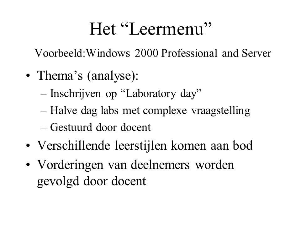 Het Leermenu Voorbeeld:Windows 2000 Professional and Server Thema's (analyse): –Inschrijven op Laboratory day –Halve dag labs met complexe vraagstelling –Gestuurd door docent Verschillende leerstijlen komen aan bod Vorderingen van deelnemers worden gevolgd door docent