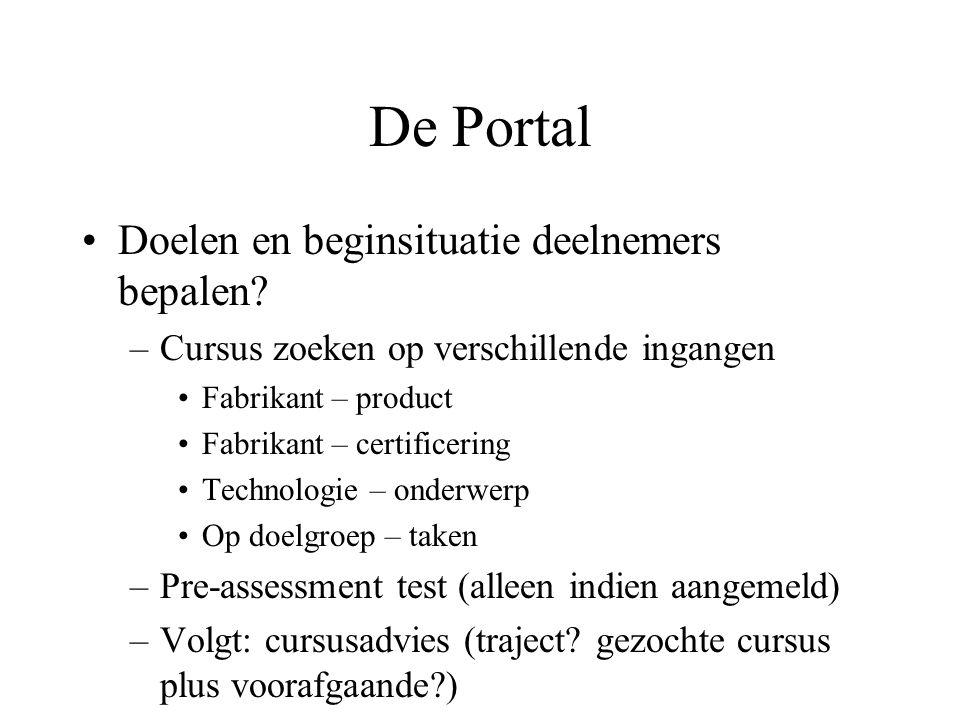 De Portal Doelen en beginsituatie deelnemers bepalen? –Cursus zoeken op verschillende ingangen Fabrikant – product Fabrikant – certificering Technolog