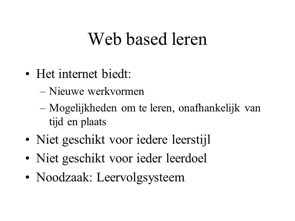 Web based leren Het internet biedt: –Nieuwe werkvormen –Mogelijkheden om te leren, onafhankelijk van tijd en plaats Niet geschikt voor iedere leerstijl Niet geschikt voor ieder leerdoel Noodzaak: Leervolgsysteem