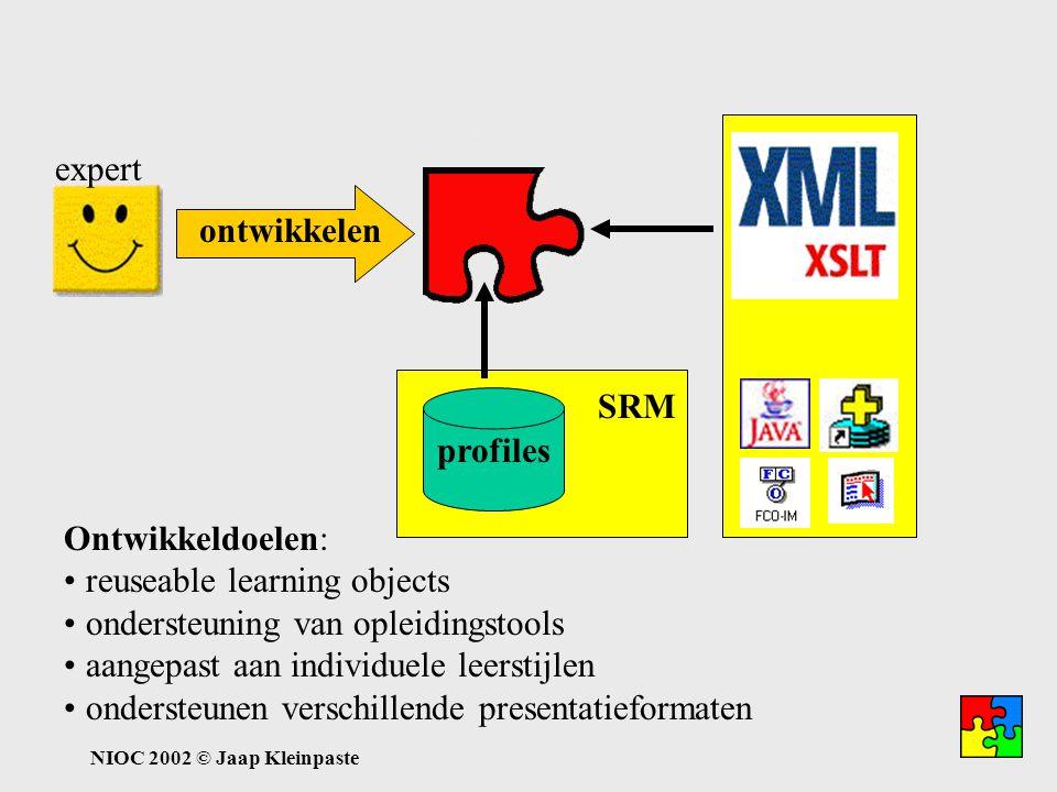 NIOC 2002 © Jaap Kleinpaste Kenniscyclus: ontwikkelen expert ontwikkelen Ontwikkeldoelen: reuseable learning objects ondersteuning van opleidingstools aangepast aan individuele leerstijlen ondersteunen verschillende presentatieformaten profiles SRM HTML